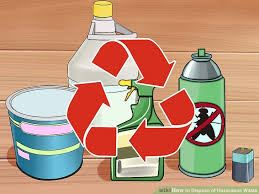 paint can, aerosol, and cleaners with recycle symbol in front