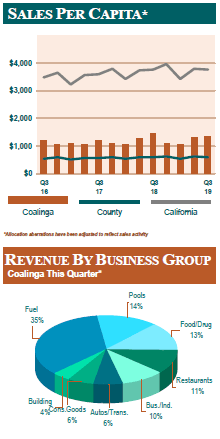 Chart describing sales per capita and revenue by business group