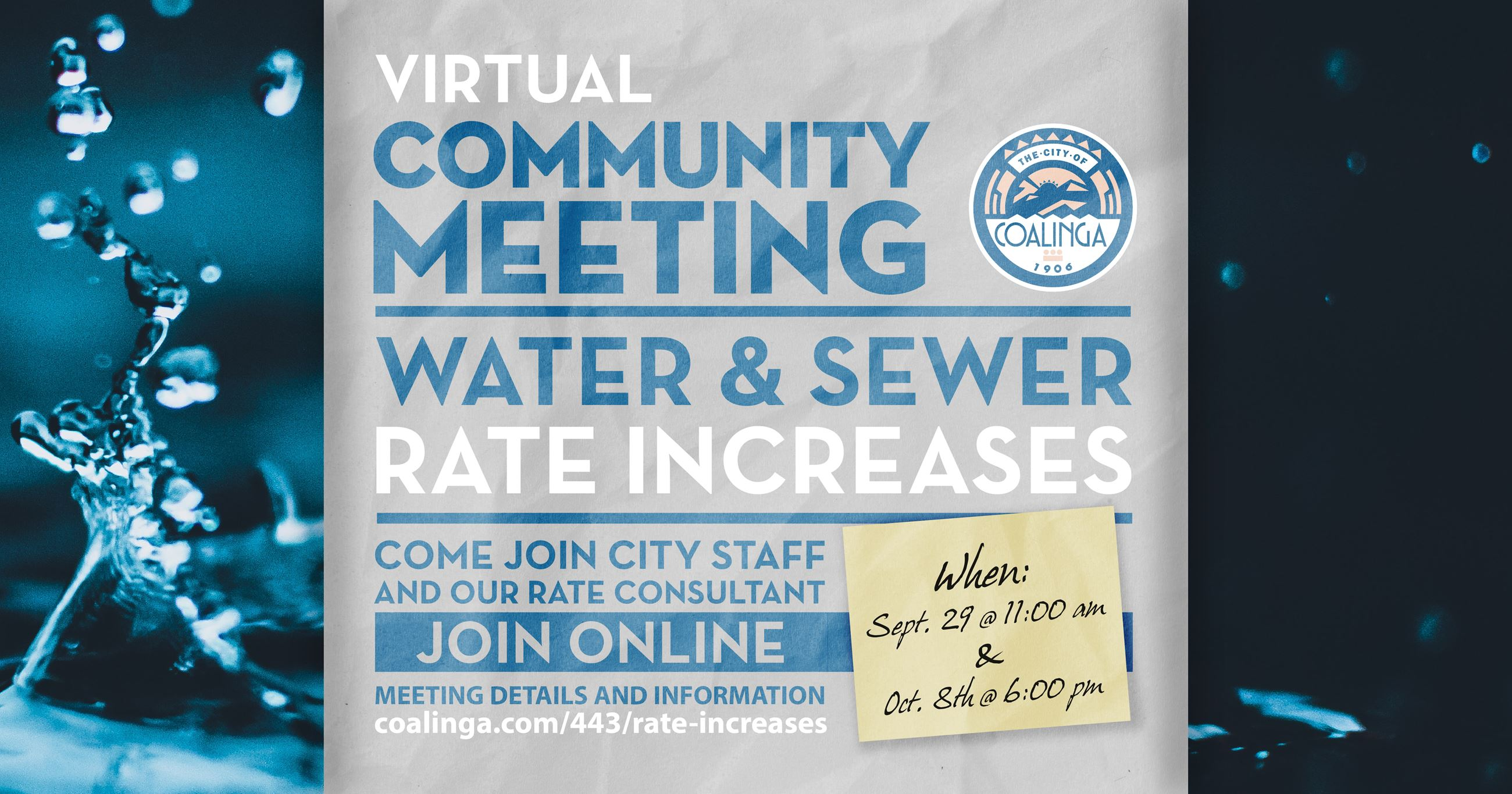 "Flyer depicting the words ""Virtual Community Meeting Water and Sewer Rate Discussion"""